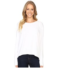 Mod O Doc Cotton Modal Spandex French Terry Crossover Back Long Sleeve Pullover White Women's Long Sleeve Pullover