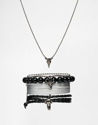 Asos Necklace And Bracelet Pack With Animal Skull Black