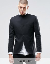 Only And Sons Skinny Mandarin Collar Blazer With Stretch Black