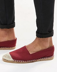 Asos Espadrilles In Burgundy Canvas With Toe Cap Burgundy Red