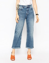 Asos Baggy High Rise Jean In Authentic Midwash Midwashblue