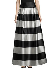 Eliza J Tonal Stripe A Line Skirt Black White