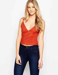 Glamorous Cropped Cami Top Rust Red