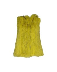 Beayukmui Coats And Jackets Fur Outerwear Women Acid Green