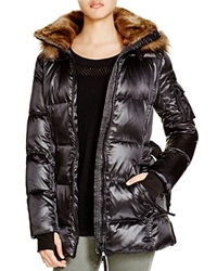Aqua Alps Faux Fur Down Puffer Jacket Jet