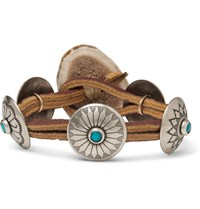 Yuketen Leather Silver Tone And Turquoise Bracelet Brown