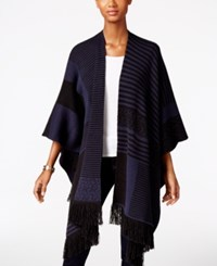 Styleandco. Style Co. Striped Fringe Poncho Only At Macy's Ind Blue Combo