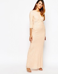 Tfnc All Over Sequin Long Sleeve Maxi Dress With Twist Front Nude