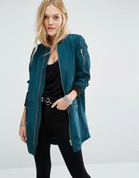 Noisy May Longline Bomber Jacket Reflecting Pond Blue