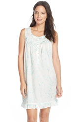 Eileen West 'Early' Embroidered Cotton Short Nightgown Winter White Blue Embroidery