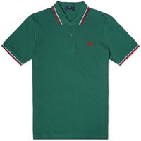 Fred Perry Original Twin Tipped Polo Tartan Green Ice And Red