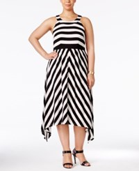 Inc International Concepts Plus Size Striped Halter Dress Only At Macy's Black White