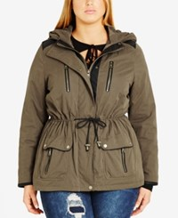 City Chic Trendy Plus Size Faux Leather Trim Anorak Olive