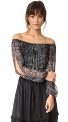 Haute Hippie Cold Shoulder Blouse Psycho