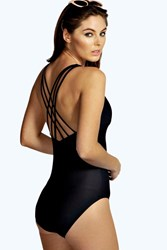 Boohoo Plunge Front Cross Strap Back Swimsuit Black