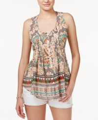 American Rag Printed Pintucked Sleeveless Top Only At Macy's Coral Multi