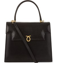 Launer Traviata Calf And Lizard Leather Shoulder Bag Black