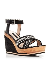 French Connection Platform Wedge Espadrille Sandals Lata Black White Black