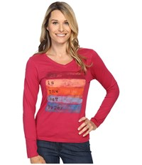 Life Is Good Now New Crusher Vee Long Sleeve Rose Berry Women's Long Sleeve Pullover Pink