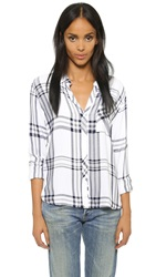 Rails Hunter Long Sleeve Button Down Blouse White Navy Grey