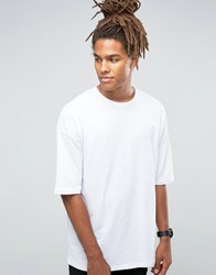 Asos Oversized Longline T Shirt With Half Sleeve In White White