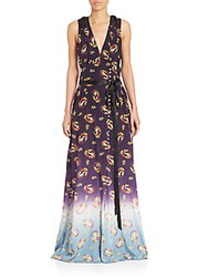 Marc Jacobs Sleeveless Floral Print Ribbon Gown Navy