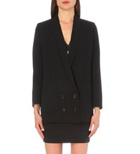 The Kooples Oversized Double Breasted Crepe Jacket Black