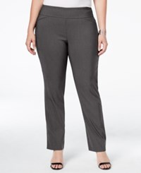 Charter Club Plus Size Tummy Control Check Printed Pull On Pants Only At Macy's Deep Black