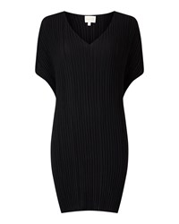 East V Neck Pleat Tunic Black
