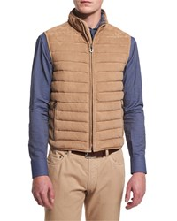 Salvatore Ferragamo Quilted Suede Zip Up Vest Beige Women's