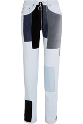 Off White Patchwork Velvet Paneled Mid Rise Straight Leg Jeans Light Blue