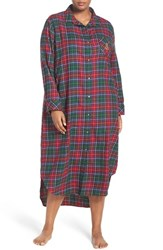 Lauren Ralph Lauren Plus Size Women's Plaid Woven Nightgown Plaid Red Green Blue