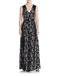 Tanya Taylor Rory Faux Patent Leather Trimmed Printed Silk Maxi Dress