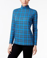 Karen Scott Plaid Turtleneck Top Only At Macy's Bright Blue