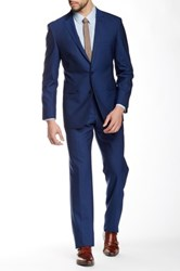 Vince Camuto Blue Plain Weave Two Button Notch Lapel Slim Fit Wool Suit