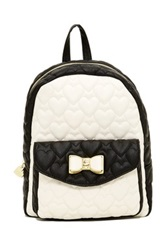 Betsey Johnson Be Mine Bow Medium Backpack White
