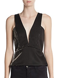 Mason Plunge Neck Peplum Top Black Gold