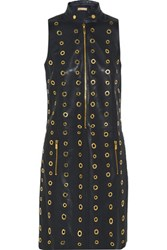 Michael Kors Collection Eyelet Embellished Leather Dress Midnight Blue