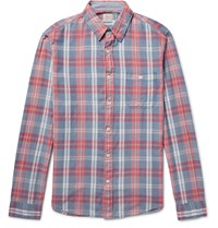 Faherty Seaview Checked Slub Cotton Shirt Blue