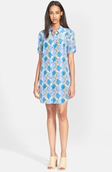 Equipment 'Slim Signature' Print Silk Shirtdress True Blue Lime Green
