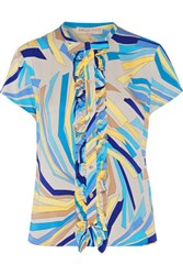 Emilio Pucci Ruffled Printed Stretch Silk Blouse Turquoise