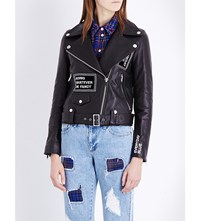 Steve J And Yoni P Patchwork Leather Biker Jacket Black