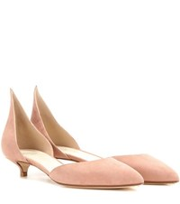 Francesco Russo Suede Kitten Heel Pumps Pink