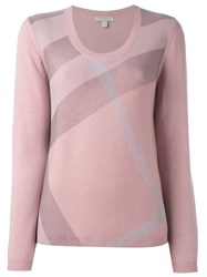 Burberry Stripe Pattern Pullover Pink And Purple
