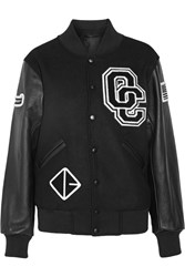 Opening Ceremony Appliqued Wool Blend Twill And Leather Bomber Jacket Black