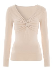 Jane Norman Nude Twist Front Long Sleeve Jumper
