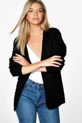 Boohoo Ripple Stitch Edge To Edge Boyfriend Cardigan Black