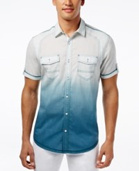 Inc International Concepts Men's Hawaii Dip Dye Short Sleeve Shirt Only At Macy's Whispering Blue