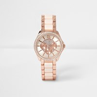 River Island Womens Light Pink Chain Emebellished Watch