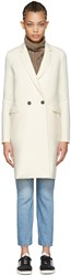 Harris Wharf London Ivory Wool Double Breasted Coat